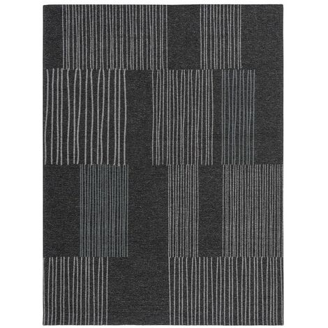 Tapis rayé pour salon rectangle moderne Maline Anthracite 200x300 - Anthracite