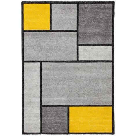 Tapis moderne intérieur rectangle graphique Brighton Jaune 200x300 - Jaune