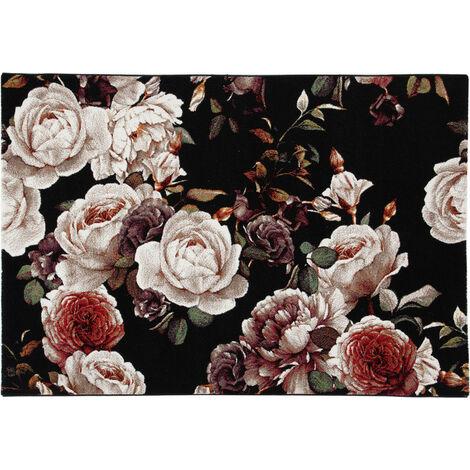 Tapis floral noir polypropylène rectangle contemporain Dublin Noir 200x300 - Noir