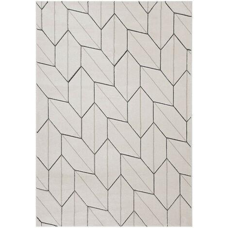 Tapis géométrique pour salon scandinave rectangle York Crème 200x300 - Crème