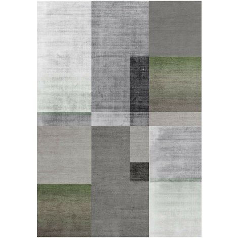 Tapis moderne graphique à courtes mèches rectangle Southwold Vert 200x300 - Vert