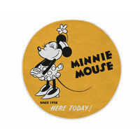 Tapis jaune rond lavable en machine Disney Minnie Mouse Jaune Ø 90 - Jaune