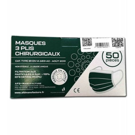 Boîte de 50 masques chirurgicaux type IIR 3 plis non tissés Made in France