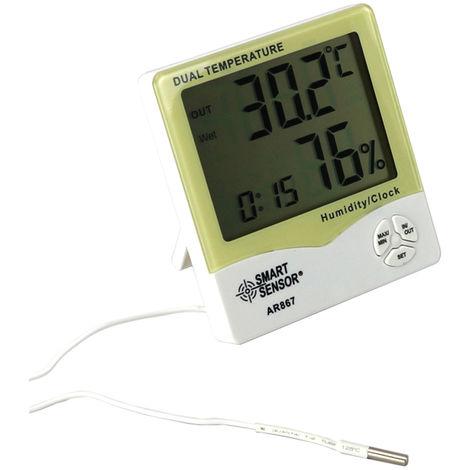 Smart Sensor Ar867 Lcd Thermometre Hygrometre Humidite Double Temperature Compteur Interieur Testeur Exterieur Station Meteorologique Avec Alarme Calendrier Et Horloge