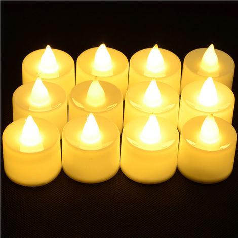 Lampe A Bougie A Led Electrique, Decoration De Festival, 12Pcs, Blanc Chaud