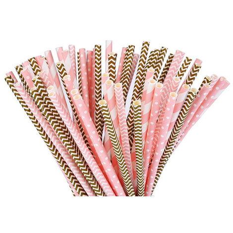 Pailles En Papier, Fournitures De Decoration, 100Pcs / Set