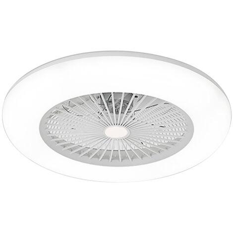 Ventilateur De Plafond, Lumiere Led, Vitesse Du Vent Reglable, Dimmable, Telecommande, 36W, Blanc