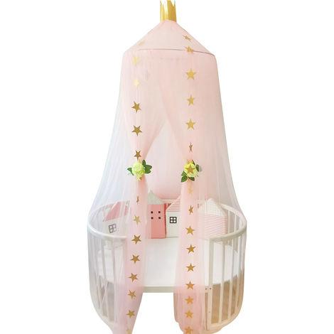 Moustiquaire A Dome, Rose, Avec Chaine D'Etoiles