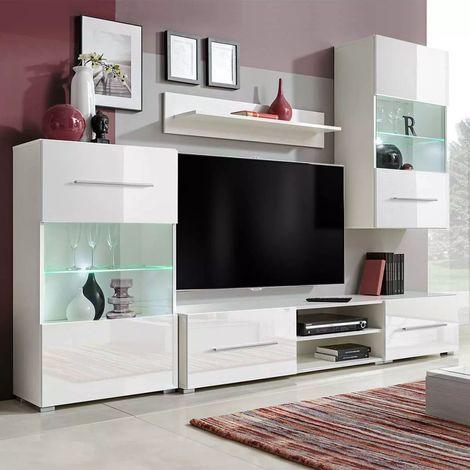 Meuble TV mural avec eclairage LED 5 pieces Blanc