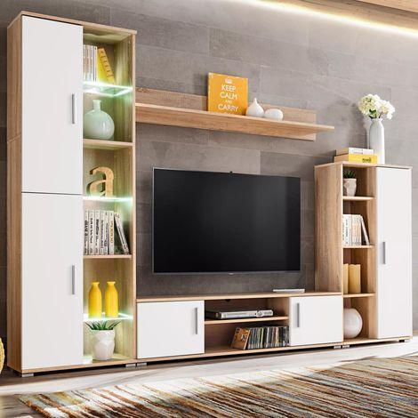 Meuble TV mural avec lumiere LED Chene sonoma et blanc