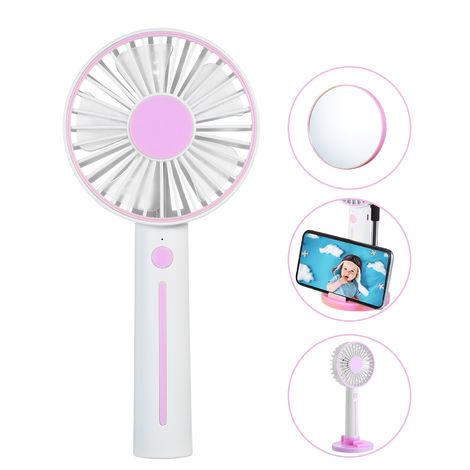 Ini Portable Ventilateur Bureau Usb Ventilateur 3 Vitesse Reglable Mini Usb Fan Personnelle Rechargement A Piles Petit Bureau De Refroidissement, Rose
