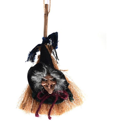 Halloween Hanging Sorciere Decoration Sorciere Sur Balai Ornement Halloween Hanging Sorciere De Vol Pour L'Interieur Cadeau Exterieur Halloween Party Festivals Decor, Vert