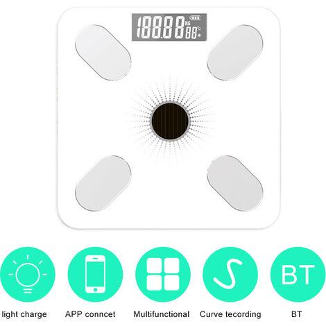 App Bt Body Fat Scales Intelligent Poids Solaire-Power Balance De Haute Precision Cadeau Pour Les Soins De Sante Corps Famille, Blanc