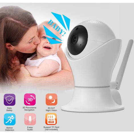 1080P Wifi Camera Ip 360 Degres Panoramique Navigation Pan / Tilt Sans Fil Camera Cctv Baby Monitor Camera Wifi Pour Bebe / Nourrice / Aine / Chien / Animaux Surveillance Avec App, Pan / Tilt, 2 Voies Audio, Detection De Mouvement Accueil Securite Surveil