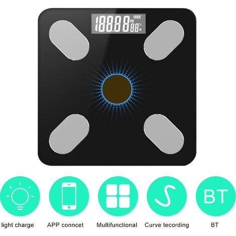 App Bt Body Fat Scales Intelligent Poids Solaire-Power Balance De Haute Precision Cadeau Pour Les Soins De Sante Corps Famille, Noir Et Bleu