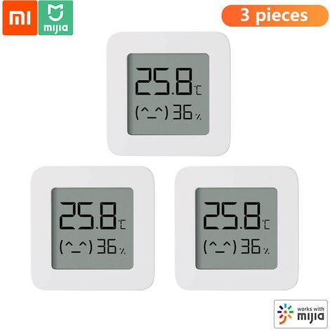 3Pcs Xiaomi Bt 2 Thermometre Sans Fil Intelligent Electrique Numerique Hygrometre Humidite Travail Capteur Avec Mijia App, Blanc