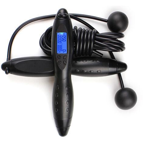 Fitness Corde A Sauter Reglable Comptage Lcd Numerique Calories Minuterie Poids Reglage Sautons L'Entrainement Physique Sportif Pour Adultes Enfants, Noir