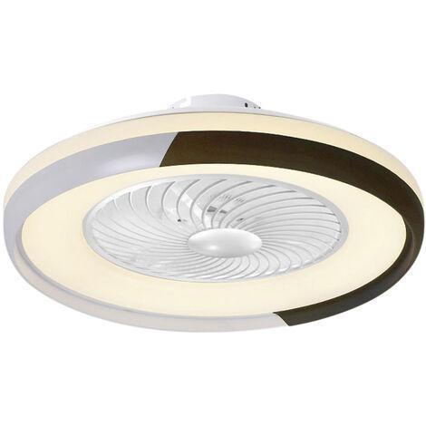 Ventilateur De Plafond Marron Ac 110V, Gradation Tricolore, Energie Eolienne A Trois Vitesses Avec Fonction De Guidage Du Vent, Telecommande Intelligente