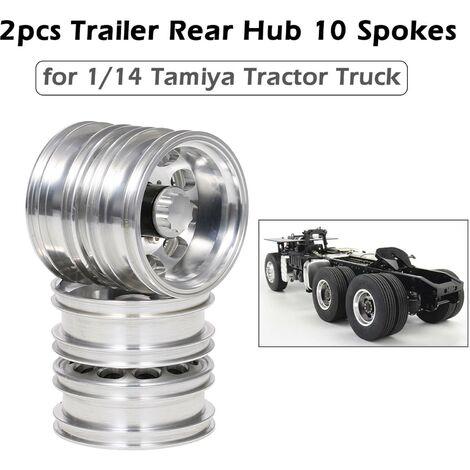 2Pcs Remorque Moyeu Arriere En Alliage D'Aluminium Rim 10 Spokes Pour 1/14 Tamiya Tracteur Camion Rc Grimpeur Remorque, Argent, Arriere