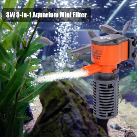 3W / 5W 3-En-1 Mini Filtre Aquarium De Poissons Eponge Filtre D'Alimentation D'Oxygene Silencieux Pompe A Air Filtre