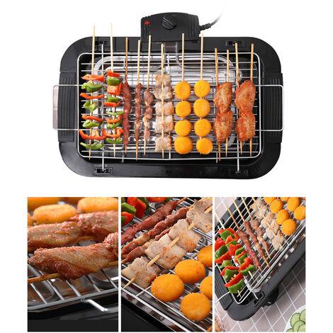 Smokeless Electrique Grill Portable Grill Cuisine Bbq Tabletop Grills Reglable Controle De La Temperature 2000W, Noir