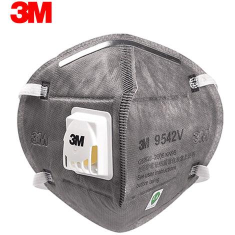 3M 9542V Kn95 Respirateur Avec Valve Actived Carbone Masque De Protection Masques De Securite Masque Anti-Poussiere Brouillard Haze Tete Monte Masque Visage Bouche, 1Pc