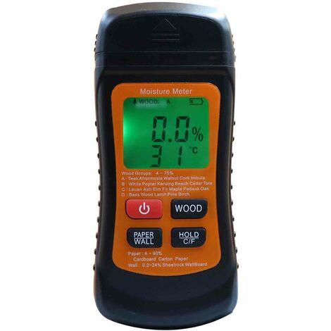 Bois Humidimetre Numerique Detecteur D'Humidite Testeur D'Humidite Damp Testeur Portable Compteur Humidite Thermometre Hygrometre