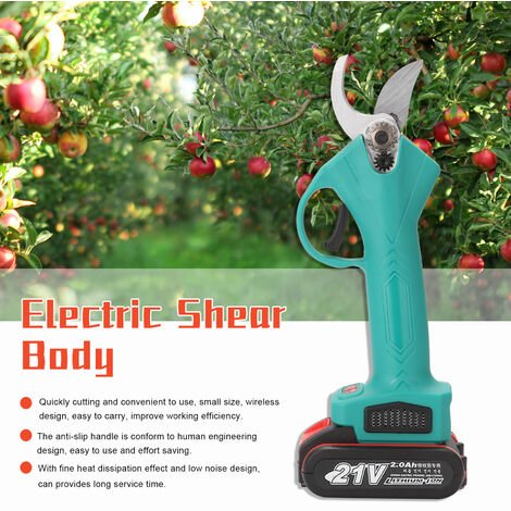 21V Electrique Sans Fil Secateur Tailler Cisaillement Efficace Des Arbres Fruitiers Branches Bonsai Elagage Cutter Amenagement Paysager Outil, Noir