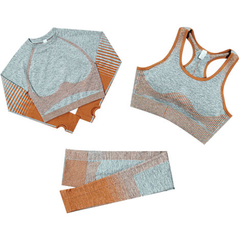 Combinaison De Yoga Pour Femmes 3 Pieces, Combinaison Sportswear Sans Couture, Taille M Orange