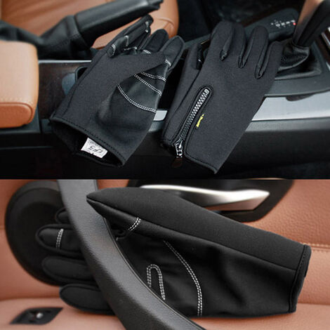 Gants D'Exterieur Chauds Et Coupe-Vent, Noir Taille L