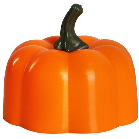 Yk5013 Led Citrouille Lanterne Sans Flamme Bougie Lumiere Vive Vacillant De Style Jack-O-Lantern Ampoule A Pile Avec Flammes Realistes Faux Bougie, Orange, 1 Pc