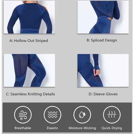 Combinaison De Sport Yoga Femme, T-Shirt Manches Longues + Pantalon, Bleu Fonce, Taille M