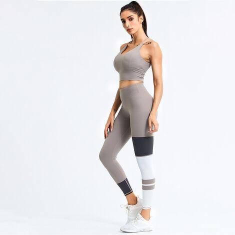 Combinaison D'Entrainement Yoga Femme, Top + Pantalon, Kaki, Taille S