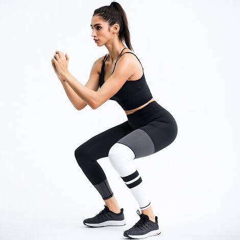 Combinaison D'Entrainement Yoga Femme, Top + Pantalon, Noir, Taille L