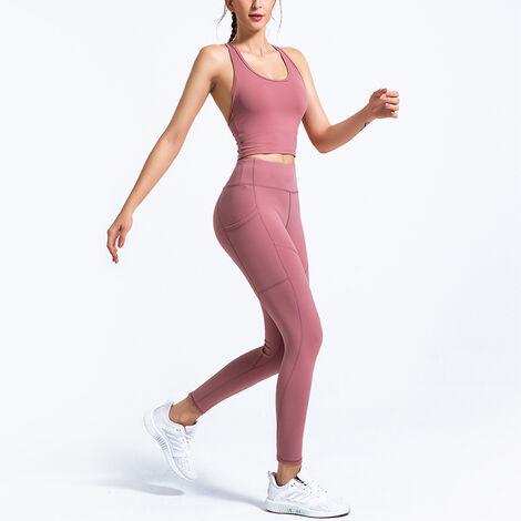 Combinaison De Sport Femme, Top + Pantalon Respirant A Sechage Rapide, Rose, Taille L