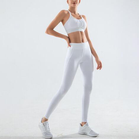 Combinaison Sport Fitness Femme, Top + Pantalon, Blanc, Taille S