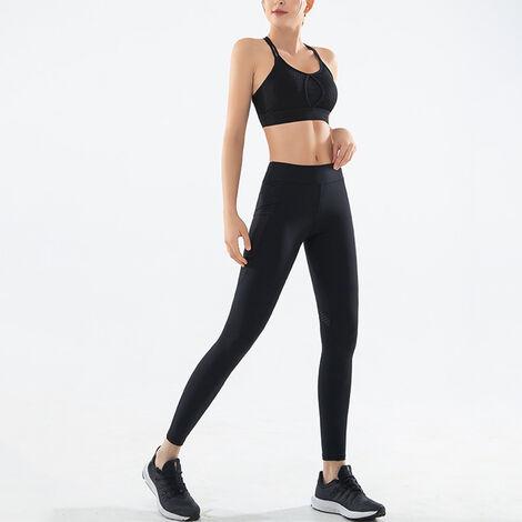Combinaison Sport Fitness Femme, Top + Pantalon, Noir, Taille M
