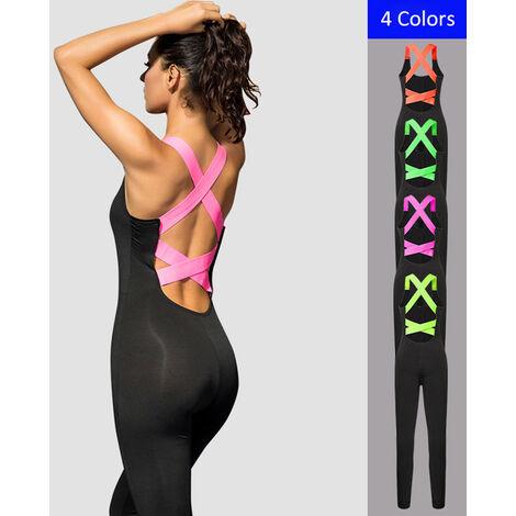 Combinaison De Yoga Femme, Vetements De Sport Extensibles Et A Sechage Rapide, Rose Rouge, Taille L