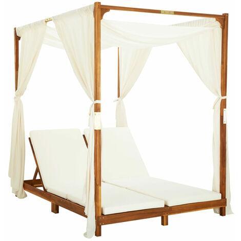Chaise longue double avec rideaux et coussins Bois d'acacia