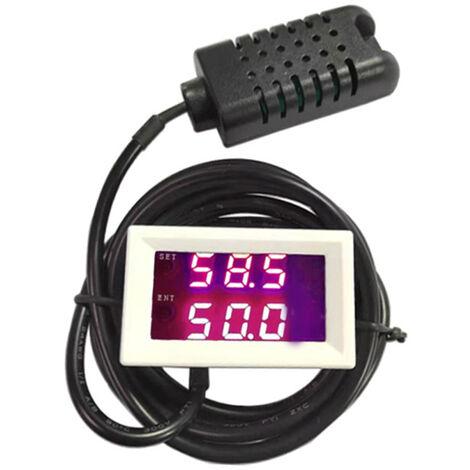 Humidite Numerique Controleur Intelligent Controle De L'Humidite Commutateur Humidistat Regulateur Hygrometre, 12V Et Rouge-Rouge