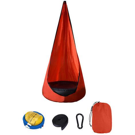 Chaise Suspendue Pour Enfants, Lit Balancoire Portable En Tissu Parachute, Chaise Hamac A Coussin D'Air, Rouge