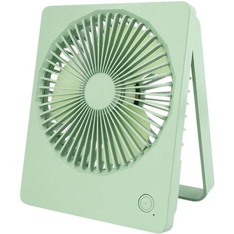 Portable Ventilateur De Batterie Rechargeable Support Pliable A 180¡ã2 Niveaux De Lumiere Led 3 Vitesses, Vert