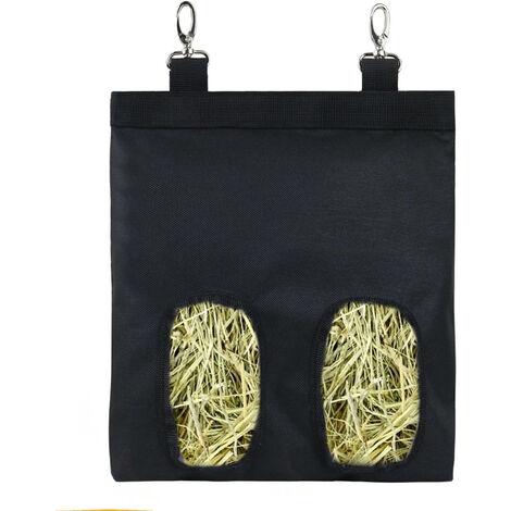 Sac De Mangeoire De Foin Pour Lapin Sac D'Alimentation Suspendu Avec Sangle De Transport Facile 600D Tissu Oxford, Noir
