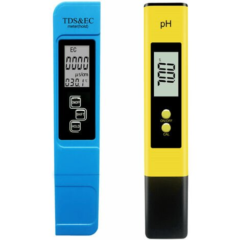 Ph Acidometre Detecteur Qualite De L'Eau Ph Prod Valeur De Test Ec & Tds Conductivity Qualite De L'Eau Pen Test, Bleu Et Jaune