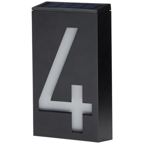 Numero De Maison Solaire, Numero De Maison A Led, Eclairage Mural Solaire A Lumiere Controlee, Numero 4