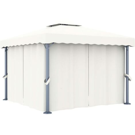 Tonnelle avec rideau 3x3 m Blanc creme Aluminium