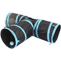 Tunnel pour chat, trois sorties, 24 cm de diametre, noir et Bleu