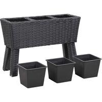 Jardiniere avec pieds et 3 pots 72x25x50 cm Resine Tressee Noir