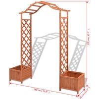 Arche pour rosiers avec jardinieres Treillis 180x40x205 cm