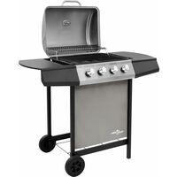 Barbecue gril a gaz avec 4 bruleurs Noir et argente